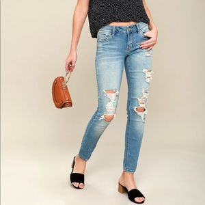 Mica Light Was Distressed Skinny Jeans